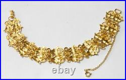 Black Hills Gold 10k 12k Wide Double Leaves Bracelet 7 Inches