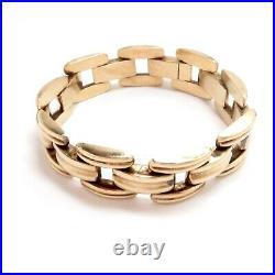 Bracelet 14 Kt Yellow Gold 1940s Retro 7 16mm Wide Fancy Link