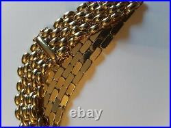 Bracelet 7 long Panther 5 row Style 12.3 mm wide 14K yellow Gold 19.7 Gms