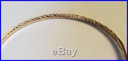 Brand New Pure 14k gold Bangle bracelet. 7 inches long. 3 mm wide. 7 available