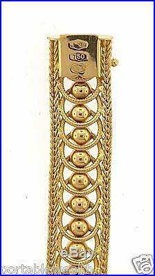 Brev Circles & Balls Wide Bracelet 18K Yellow Gold 32 grams 7.5 Unique