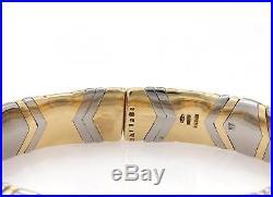 Bvlgari Bulgari Parentesi 18k YGold & Steel 10mm Wide Flex Cuff Bracelet