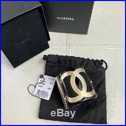 CC Chanel Black Resin Wide Logo Gold Tone Bracelet Cuff BOX DUSTBAG TAG RT $1700