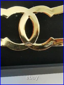 CHANEL CC Wide Metal Cuff Bangle Bracelet Gold Logo 20B