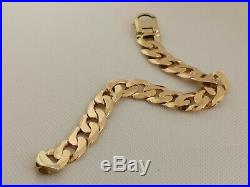 CHUNKY GOLD CURB BRACELET 9ct 375 shiny yellow 8.75 14mm wide links HEAVY 47g