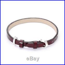 Cartier Double C Logo 18k White Gold 6mm Wide Leather Belt Bracelet