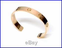 Cartier Love 18K Yellow Gold XL Wide Cuff Bracelet Size 24