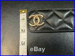 Chanel Cuff Bracelet Black with Gold metal 9 long, 2 wide