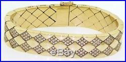 Chanel Matelasse heavy 18K yellow gold 4.0CT VS1/F diamond 13.7mm wide bracelet