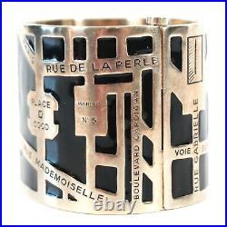 Chanel Rare 2015 Map of Paris Bangle Bracelet CC Black Gold Street Cuff Wide