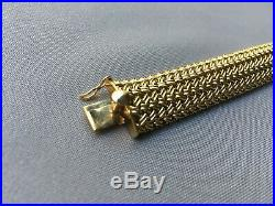 Classic 14k Yellow Gold Heavy (52gms) Weave Wide Cuff Bangle Bracelet 7.5