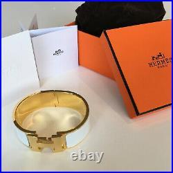 Classic Hermes H Clic Clac Bracelet GHW GOLD White Enamel PM WIDE Bangle
