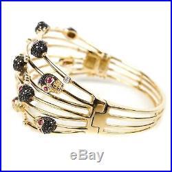 Crivelli Skull Bracelet Diamond & Gemstone Wide Bangle 18K Yellow Gold