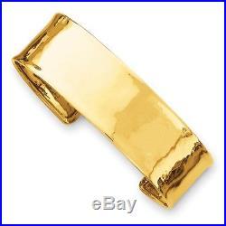 Cuff Bracelet 14K Gold 19mm Hammered or Smooth Polished Wide Bracelet Bangle