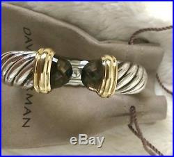 DAVID YURMAN 15mm WIDE SCULPTED CABLE CUFF BRACELET WITH SMOKY QUARTZ & 18K GOLD