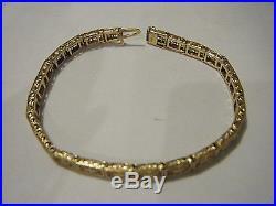DELICATE VTG 1930 DECO 14K YELLOW GOLD 7 FILIGREE HINGED LINK BRACELET 5mm WIDE