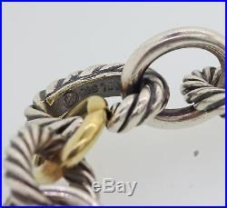 David Yurman 13mm Wide Sterling Silver 18k Yellow Gold Chain Link Bracelet A8