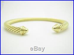 David Yurman 18K Yellow Gold Classic Cable Cuff Bangle Bracelet 5mm Wide Gift