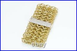 David Yurman 18K Yellow Gold Pave Diamond Wide Quatrefoil Bracelet