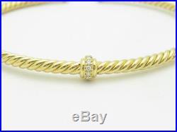 David Yurman 18k Gold Renaissance Center Station Bracelet with Diamonds 3mm Wide