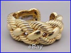 David Yurman 18k Yellow Gold 27mm Wide Woven Cable Bangle Cuff Bracelet 100gr