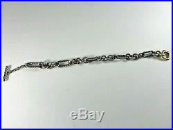 David Yurman 925 Silver and 750 Gold 7mm Wide Figaro Cable Chain Bracelet 7.5