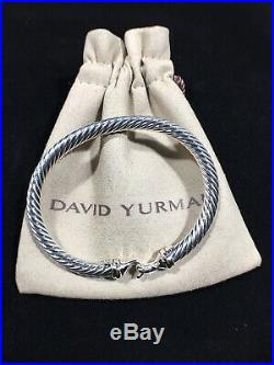 David Yurman Cable Buckle Bracelet 18k Yellow Gold 5mm Wide 925 Sterling Silver