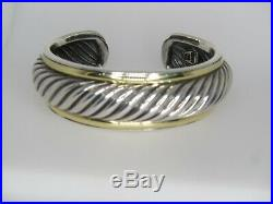 David Yurman Cable Cuff 2 Wide Sterling Silver And 18k Gold Bracelet Small