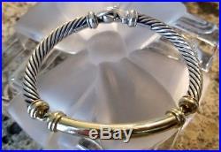 David Yurman Metro Bracelet 14K Gold Bar / Sterling Silver 5mm wide 6