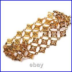 David Yurman New 18K Diamond Bracelet Quatrefoil Yellow Gold Wide Star Flower