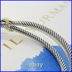 David Yurman Sterling Silver 18k Gold 3 Line Wide Cable X Crossover 7In Bracelet