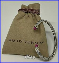 David Yurman Sterling Silver 925 & 14K Gold 5mm Wide Cable Bracelet Sapphire