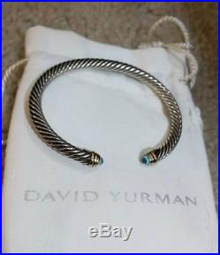 David Yurman Sterling Silver 925 Aquamarine 5mm Wide Cable Bracelet 14k Gold