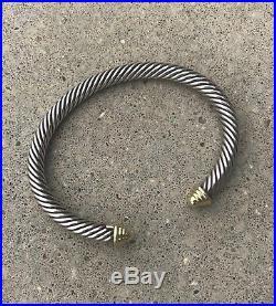 David Yurman Sterling Silver Bracelet 5mm With14K Gold 2 1/2 wide