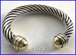 David Yurman Wide Cable 9 mm Bangle Cuff Bracelet 8 Sterling Silver 925 585 14k