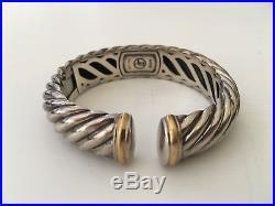 David Yurman Wide Sculpted Cable Bracelet Sterling Silver & 18K gold