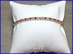 Delightful 14K Yellow Gold Red Ruby & Diamond 3MM Wide Tennis Bracelet 7