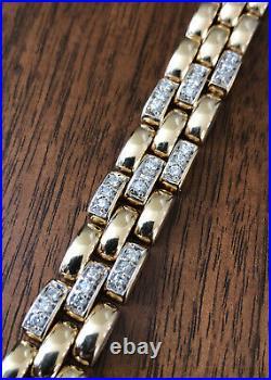 Designer 14K Yellow Gold & 0.81tcw Diamond Fancy Link Wide Bracelet 7 32.8g