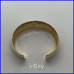Designer Breakell 14k yellow gold hand hammered crafed wide cuff bangle bracelet