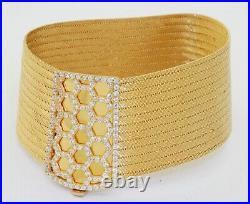 Designer signed/hallmarked heavy 14K gold 1.50CTW diamond cluster wide bracelet