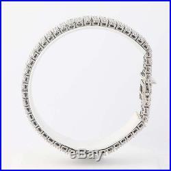 Diamond Bracelet 7 1/2 14k White Gold Wide Tennis Style Round Cut 5.00ctw