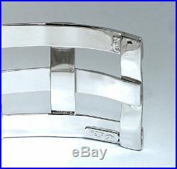 Diamond woven cuff bracelet 14K white gold 9 round brilliant 3/4 wide 20.5 GM