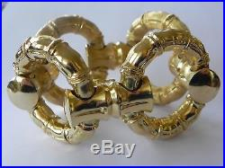Double Sided Bamboo 18k 750 Yellow Gold Wide Link Bracelet Italy 8.5