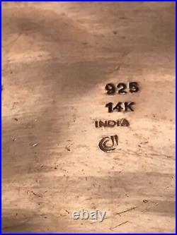 EFFY D'ORO Dot 14K 14KT Gold & Sterling Silver Cuff Bracelet Wide Heavy Large 7