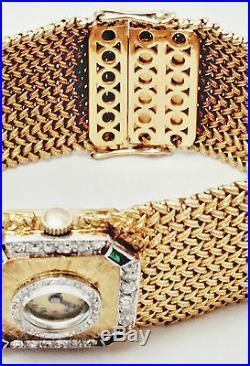 ESTATE 18k yellow Gold, Diamond & Emerald Wide Mesh bracelet Watch / 56.4 Grams