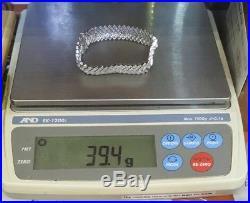 ESTATE 3.10 Ct 14K WHITE GOLD ROUND DIAMOND V SHAPED LADIES WIDE LINK BRACELET 7