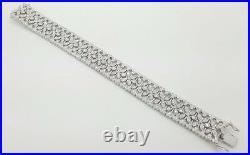 ESTATE 5.05 Ct 18K WHITE GOLD ROUND DIAMOND FLOWER WIDE LADIES BRACELET VS 6.75