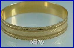 ESTATE Solid 18K Yellow Gold Bangle Bracelet WIDE 1/2 Perfect! 17.6 grams
