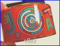 EUC HERMES TOHU BOHU Extra Wide Enamel Bangle Bracelet Orange Multi Gold Rim 65
