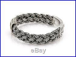 Effy Black Diamond Sterling Silver 18k Gold 13mm Wide Braided Bracelet
